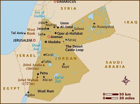 map of syrian desert. of the Syrian Desert down